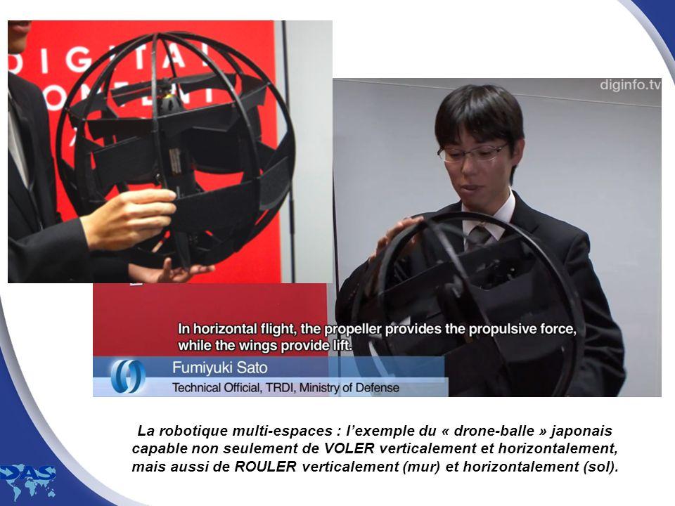 La robotique multi-espaces : l'exemple du « drone-balle » japonais capable non seulement de VOLER verticalement et horizontalement, mais aussi de ROULER verticalement (mur) et horizontalement (sol).