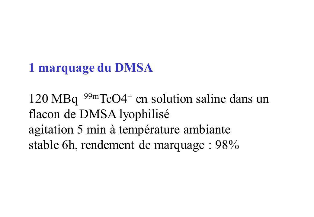 1 marquage du DMSA 120 MBq 99mTcO4= en solution saline dans un flacon de DMSA lyophilisé. agitation 5 min à température ambiante.