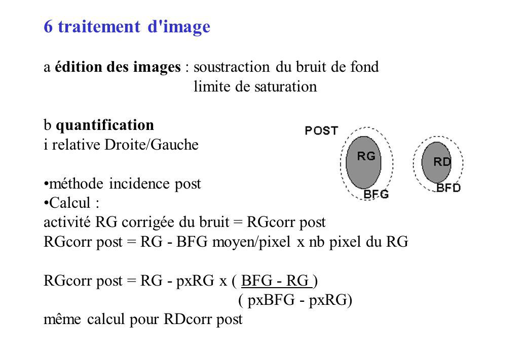 6 traitement d image a édition des images : soustraction du bruit de fond. limite de saturation. b quantification.