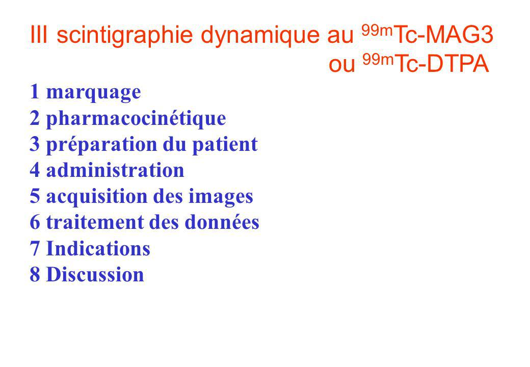 III scintigraphie dynamique au 99mTc-MAG3 ou 99mTc-DTPA