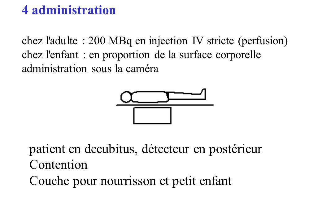 patient en decubitus, détecteur en postérieur Contention