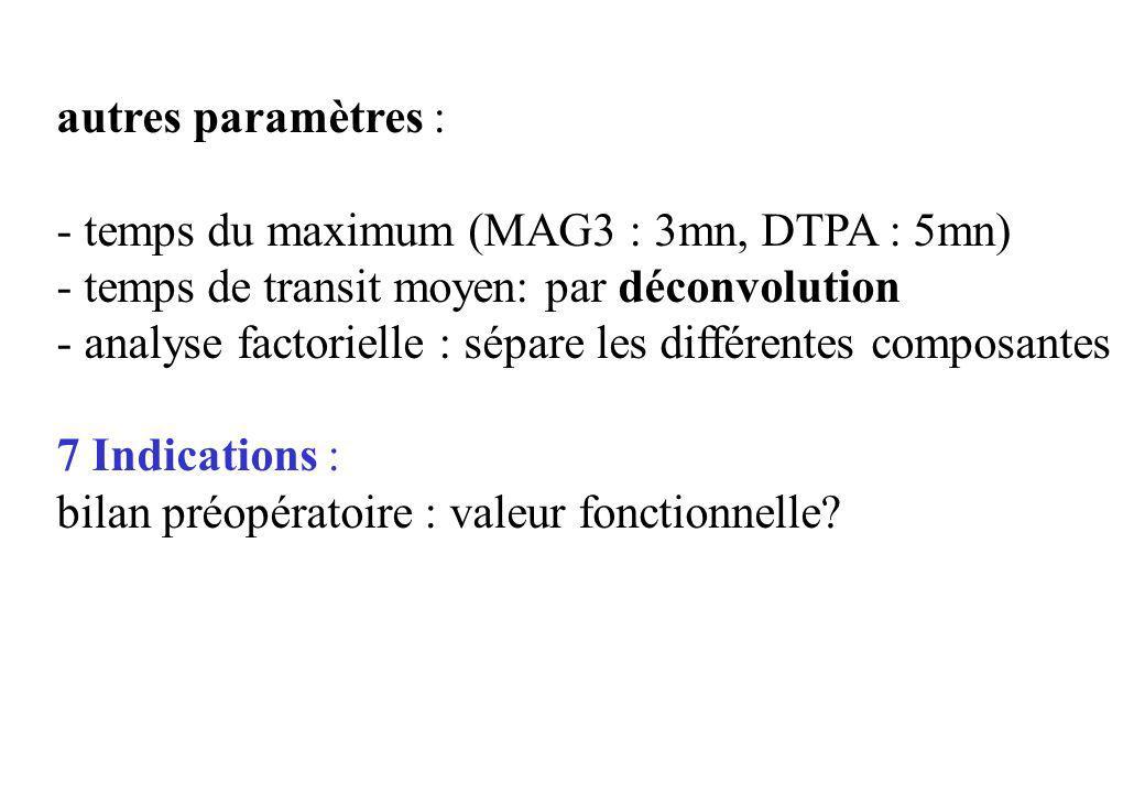 autres paramètres :- temps du maximum (MAG3 : 3mn, DTPA : 5mn) - temps de transit moyen: par déconvolution.