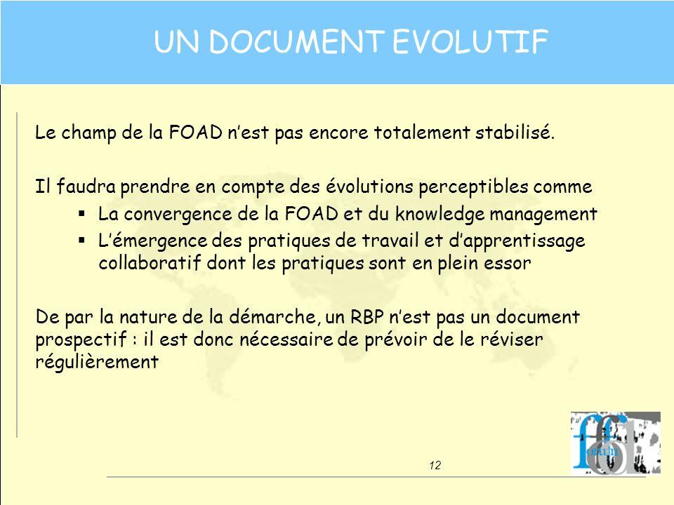 UN DOCUMENT EVOLUTIF Le champ de la FOAD n'est pas encore totalement stabilisé. Il faudra prendre en compte des évolutions perceptibles comme.