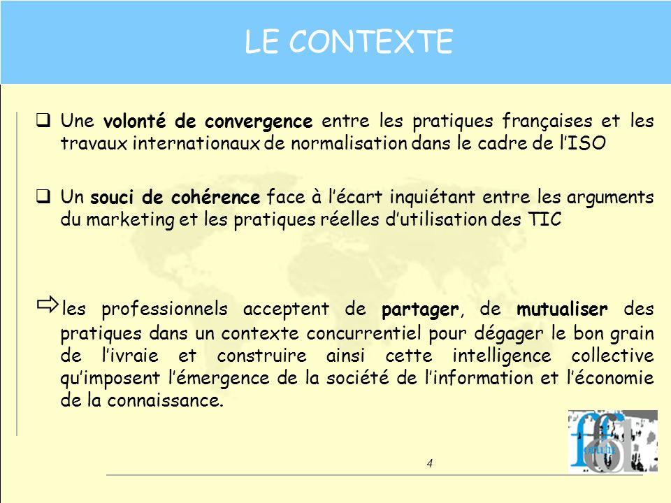 LE CONTEXTE Une volonté de convergence entre les pratiques françaises et les travaux internationaux de normalisation dans le cadre de l'ISO.
