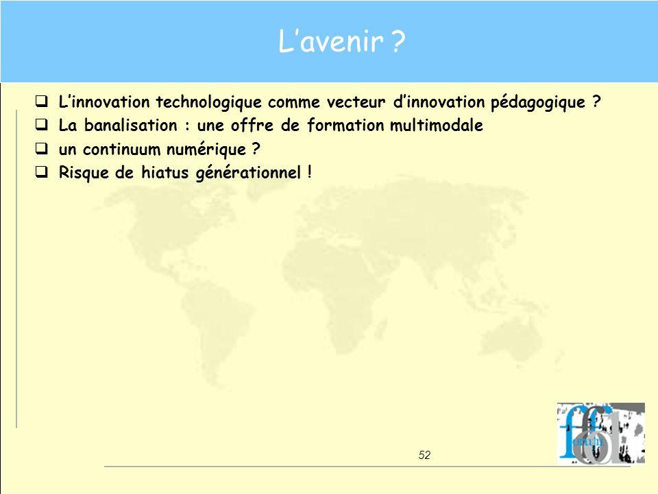 L'avenir L'innovation technologique comme vecteur d'innovation pédagogique La banalisation : une offre de formation multimodale.