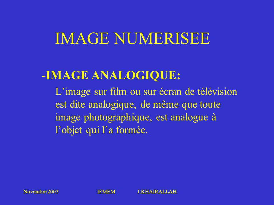 IMAGE NUMERISEE IMAGE ANALOGIQUE: