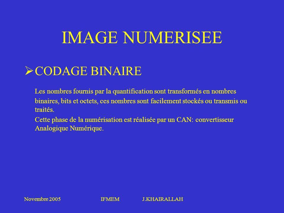 IMAGE NUMERISEE CODAGE BINAIRE