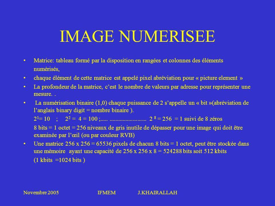 IMAGE NUMERISEE Matrice: tableau formé par la disposition en rangées et colonnes des éléments. numérisés,