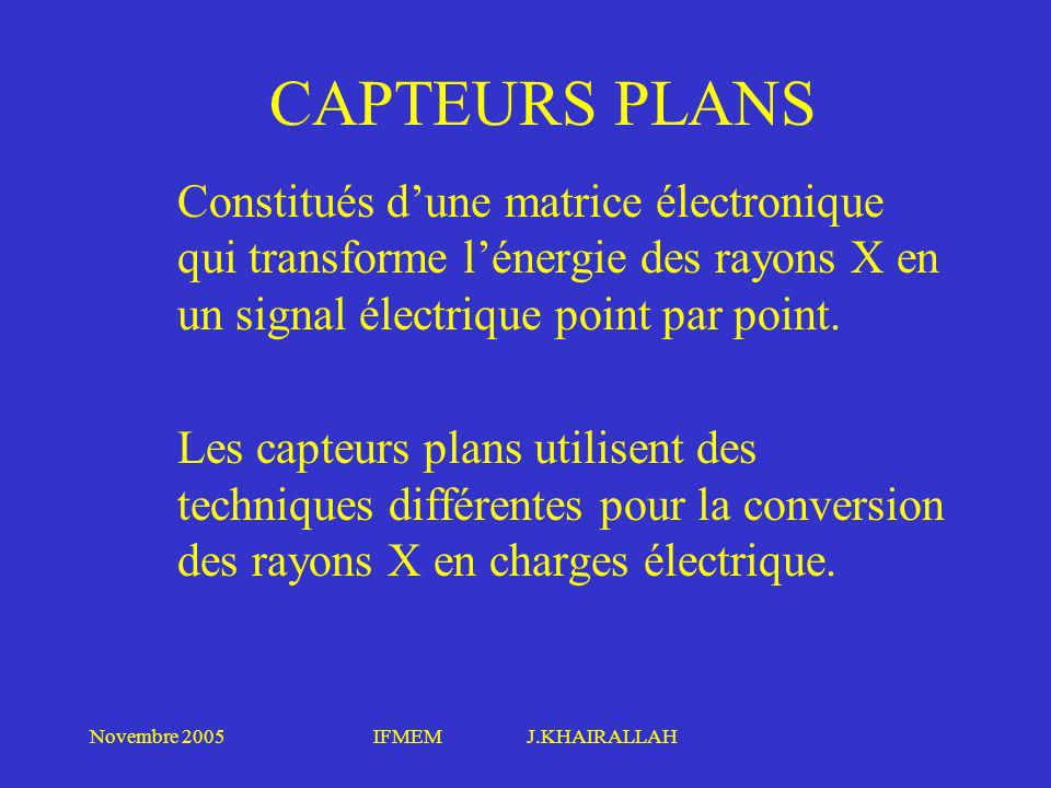 CAPTEURS PLANS Constitués d'une matrice électronique qui transforme l'énergie des rayons X en un signal électrique point par point.