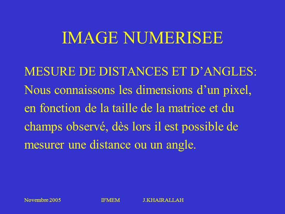 IMAGE NUMERISEE MESURE DE DISTANCES ET D'ANGLES: