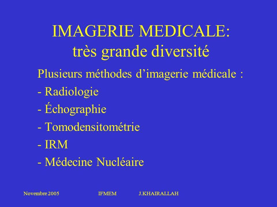 IMAGERIE MEDICALE: très grande diversité
