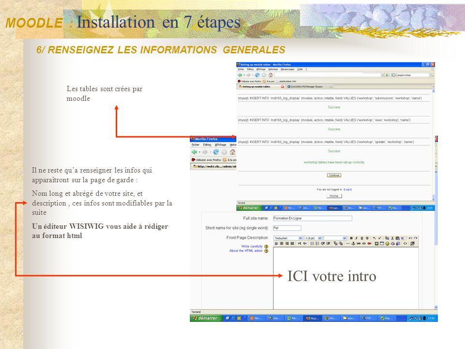 ICI votre intro MOODLE : Installation en 7 étapes