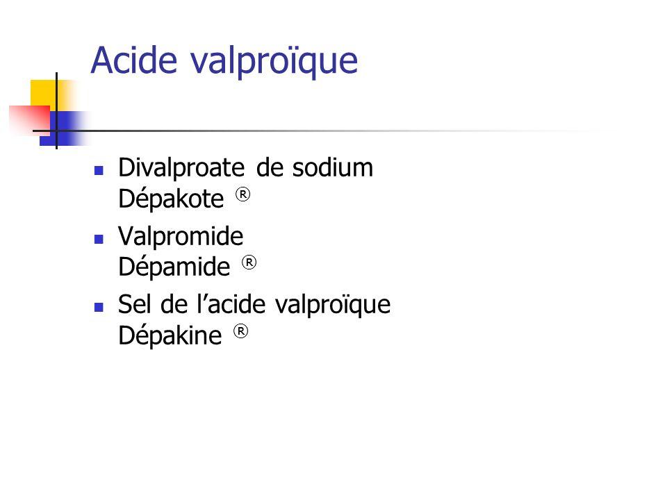 Acide valproïque Divalproate de sodium Dépakote ®