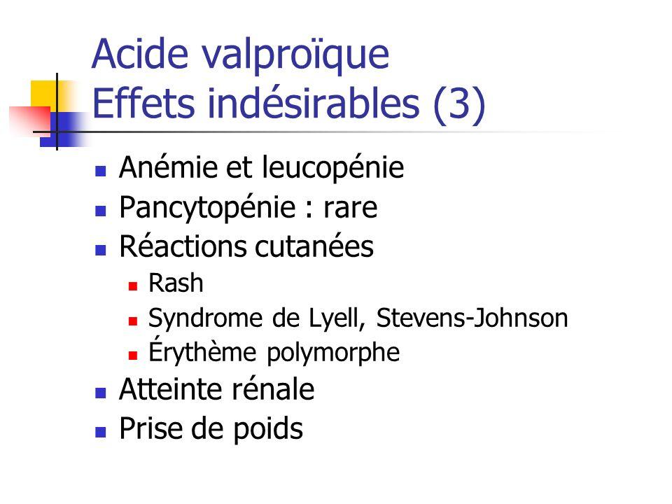 Acide valproïque Effets indésirables (3)