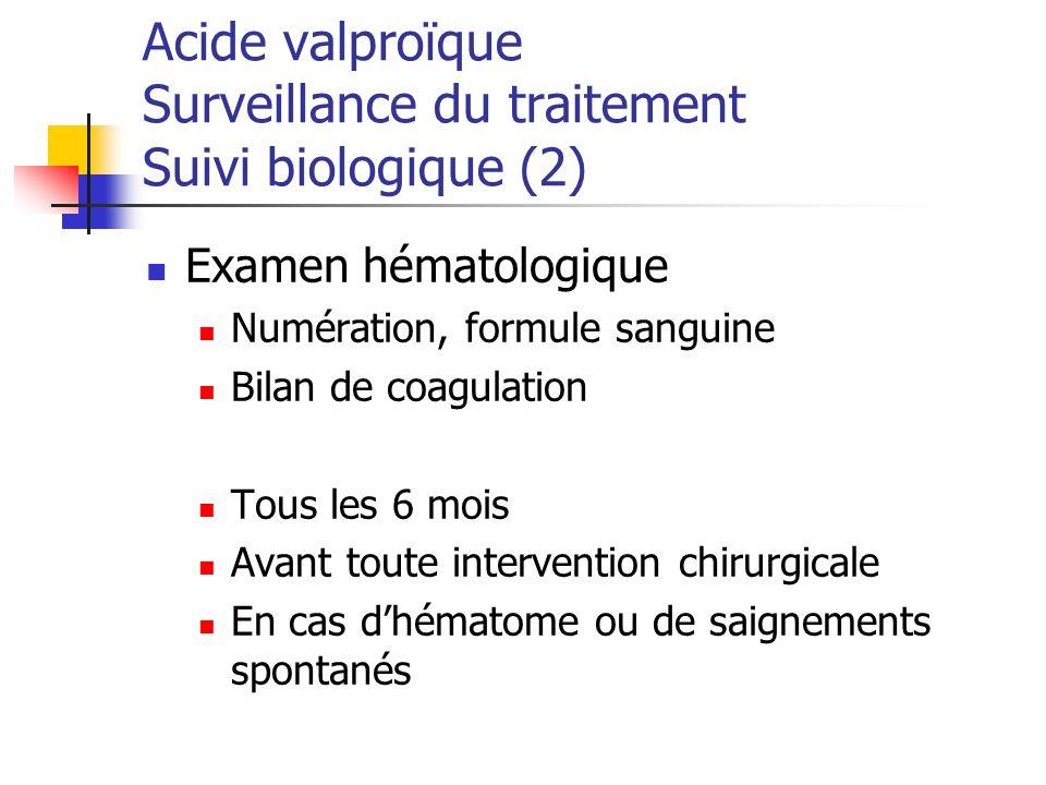Acide valproïque Surveillance du traitement Suivi biologique (2)