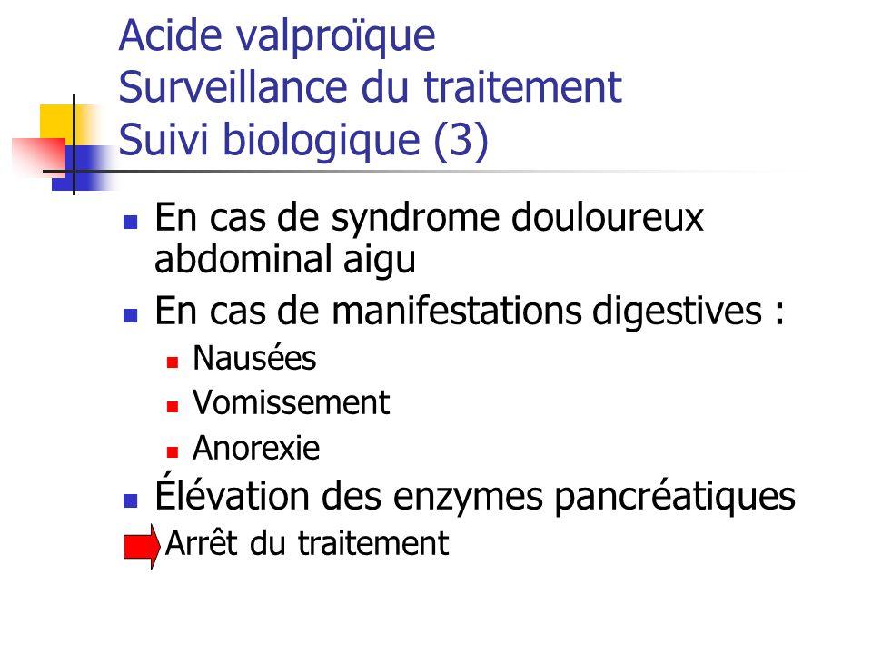 Acide valproïque Surveillance du traitement Suivi biologique (3)