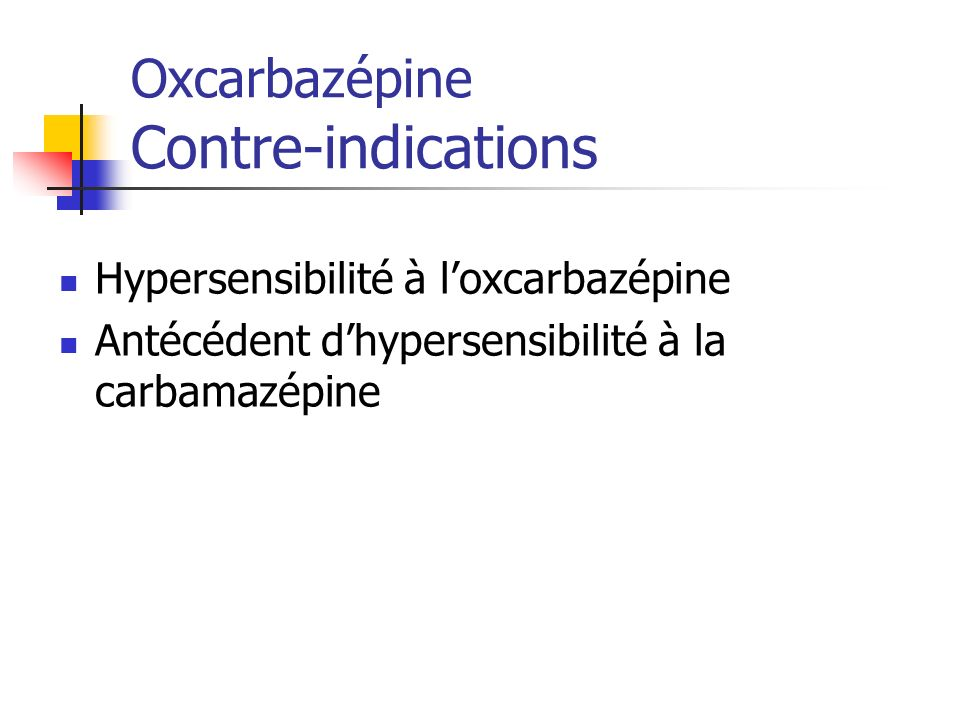 Oxcarbazépine Contre-indications