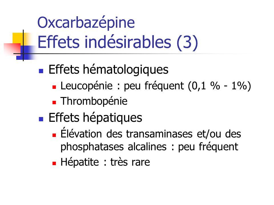Oxcarbazépine Effets indésirables (3)