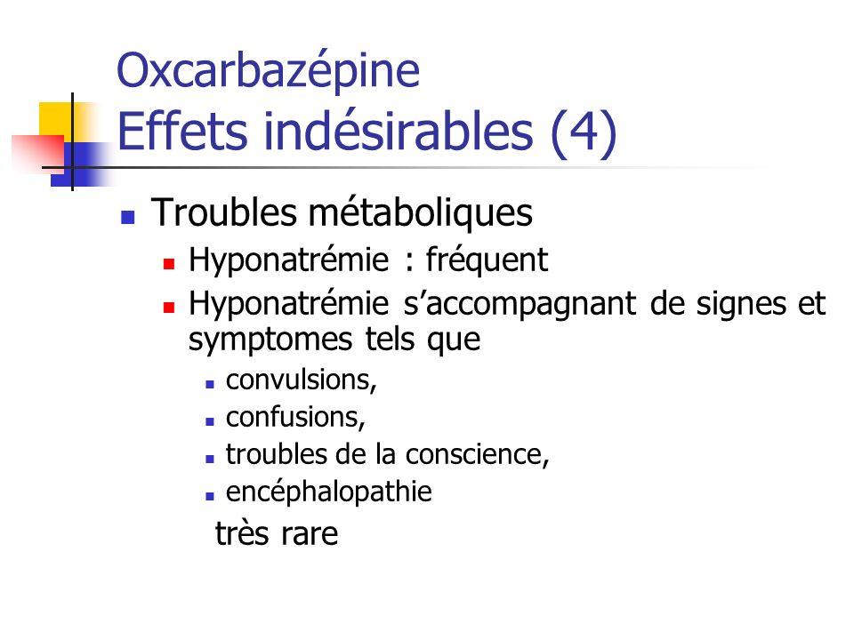 Oxcarbazépine Effets indésirables (4)