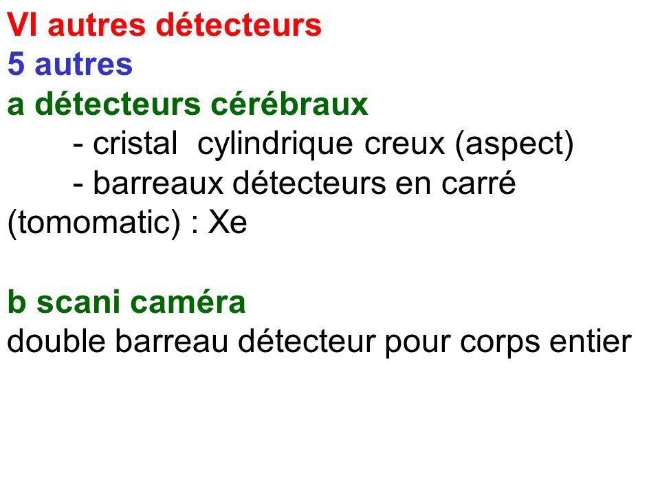 VI autres détecteurs 5 autres. a détecteurs cérébraux. - cristal cylindrique creux (aspect) - barreaux détecteurs en carré (tomomatic) : Xe.