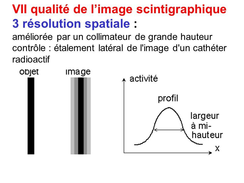 VII qualité de l'image scintigraphique 3 résolution spatiale :