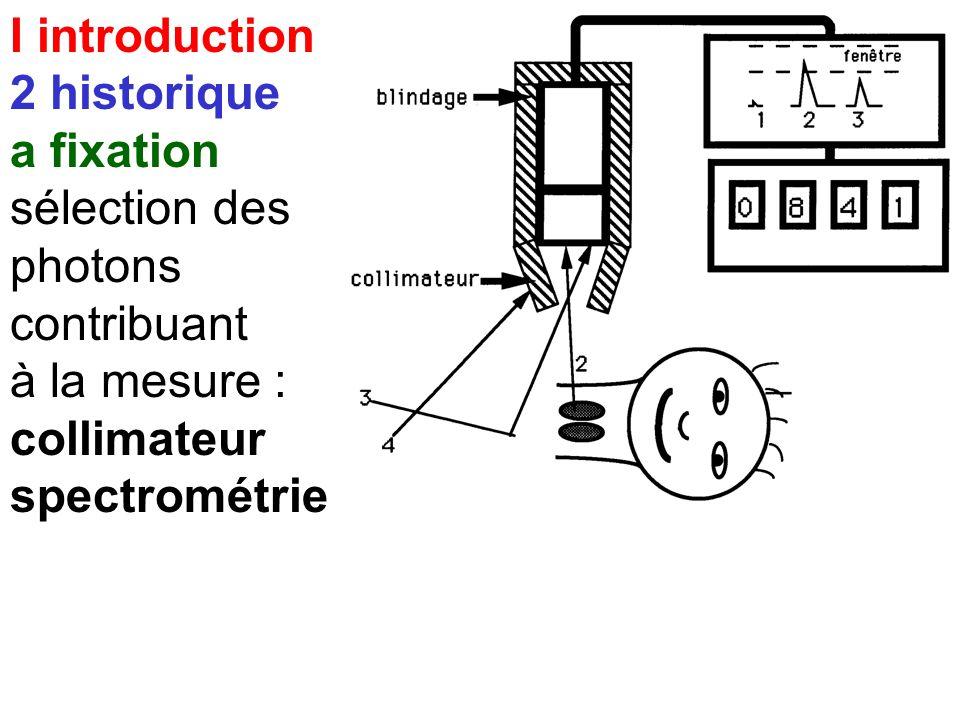 I introduction 2 historique. a fixation. sélection des. photons. contribuant. à la mesure : collimateur.