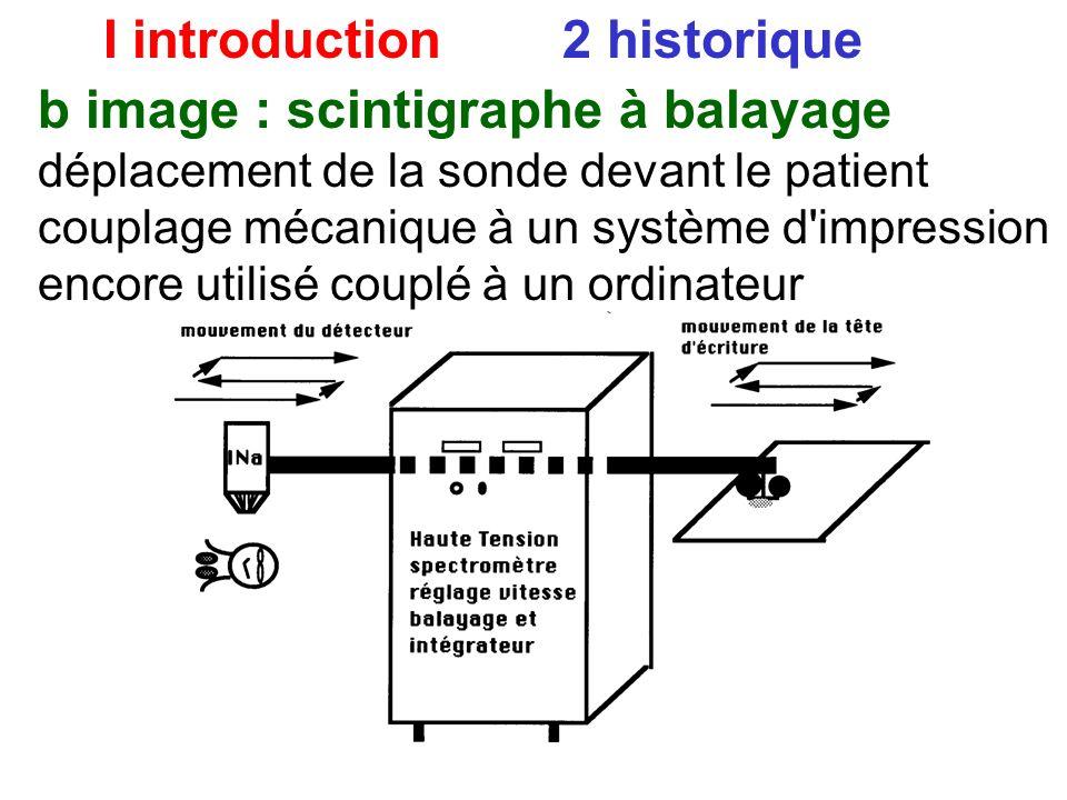 I introduction 2 historique b image : scintigraphe à balayage