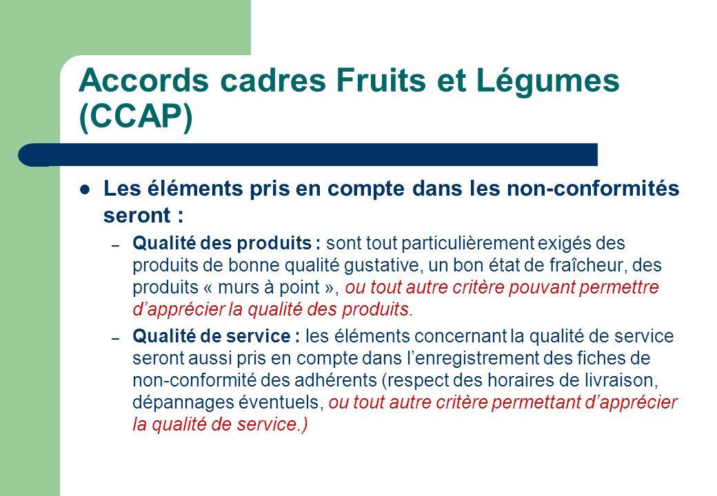 Accords cadres Fruits et Légumes (CCAP)