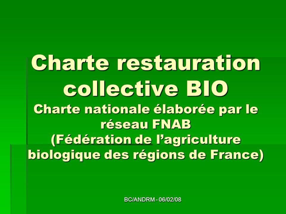 Charte restauration collective BIO Charte nationale élaborée par le réseau FNAB (Fédération de l'agriculture biologique des régions de France)