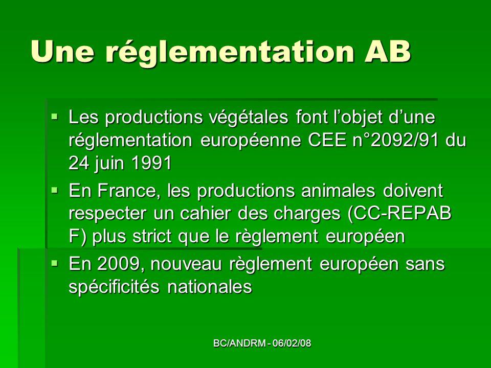 Une réglementation AB Les productions végétales font l'objet d'une réglementation européenne CEE n°2092/91 du 24 juin 1991.