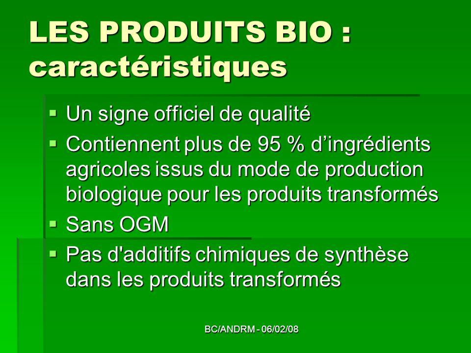 LES PRODUITS BIO : caractéristiques