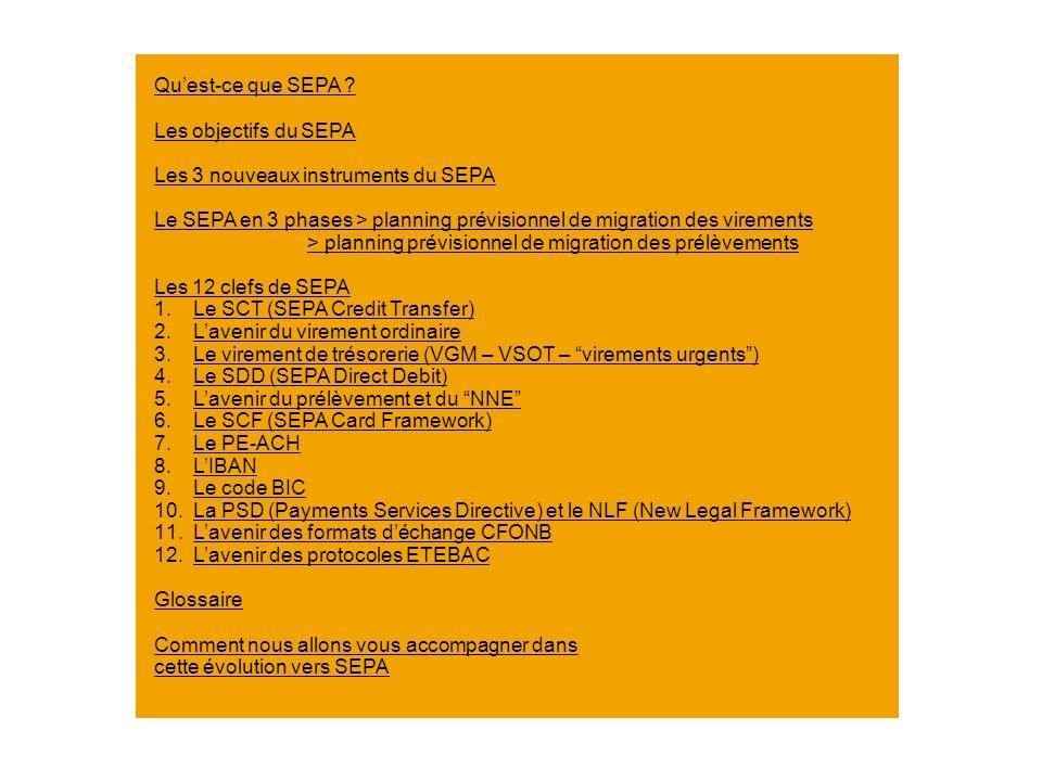 Qu'est-ce que SEPA Les objectifs du SEPA. Les 3 nouveaux instruments du SEPA.