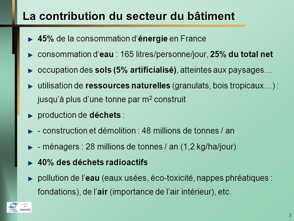 La contribution du secteur du bâtiment