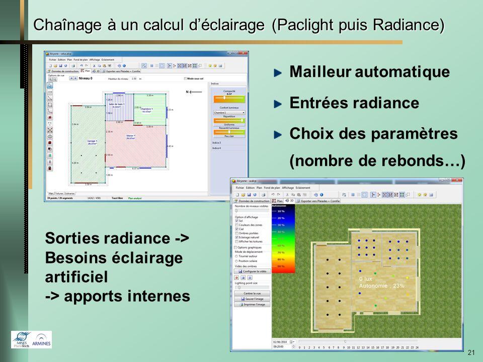 Chaînage à un calcul d'éclairage (Paclight puis Radiance)