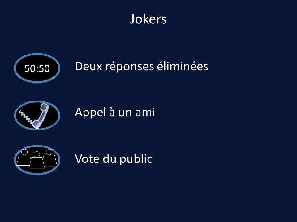 Jokers 50:50 Deux réponses éliminées Appel à un ami Vote du public