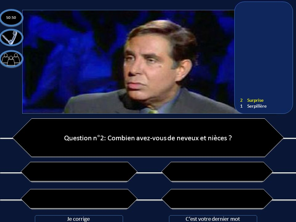 Question n°2: Combien avez-vous de neveux et nièces