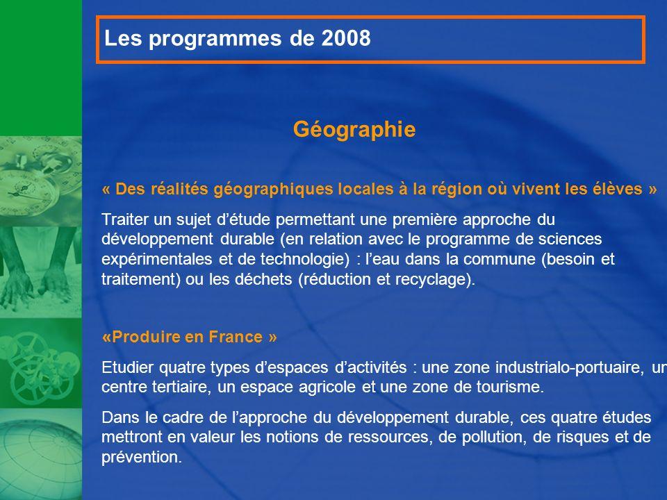 Les programmes de 2008 Géographie