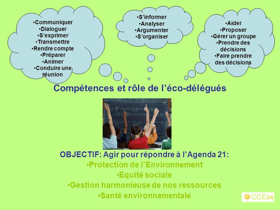 Compétences et rôle de l'éco-délégués
