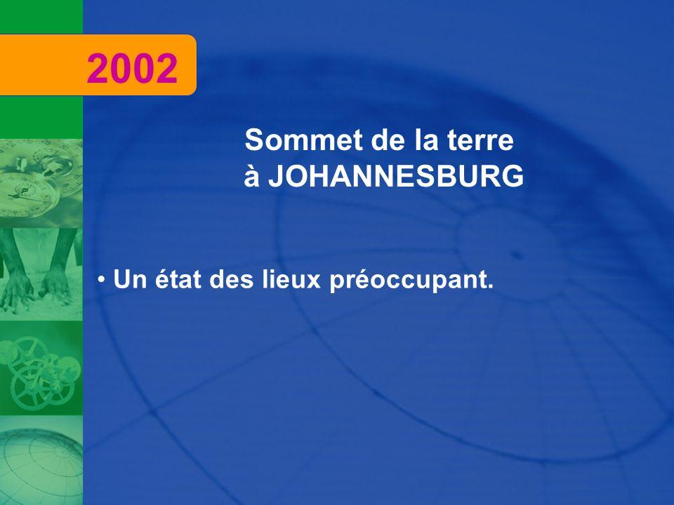 2002 Sommet de la terre à JOHANNESBURG Un état des lieux préoccupant.