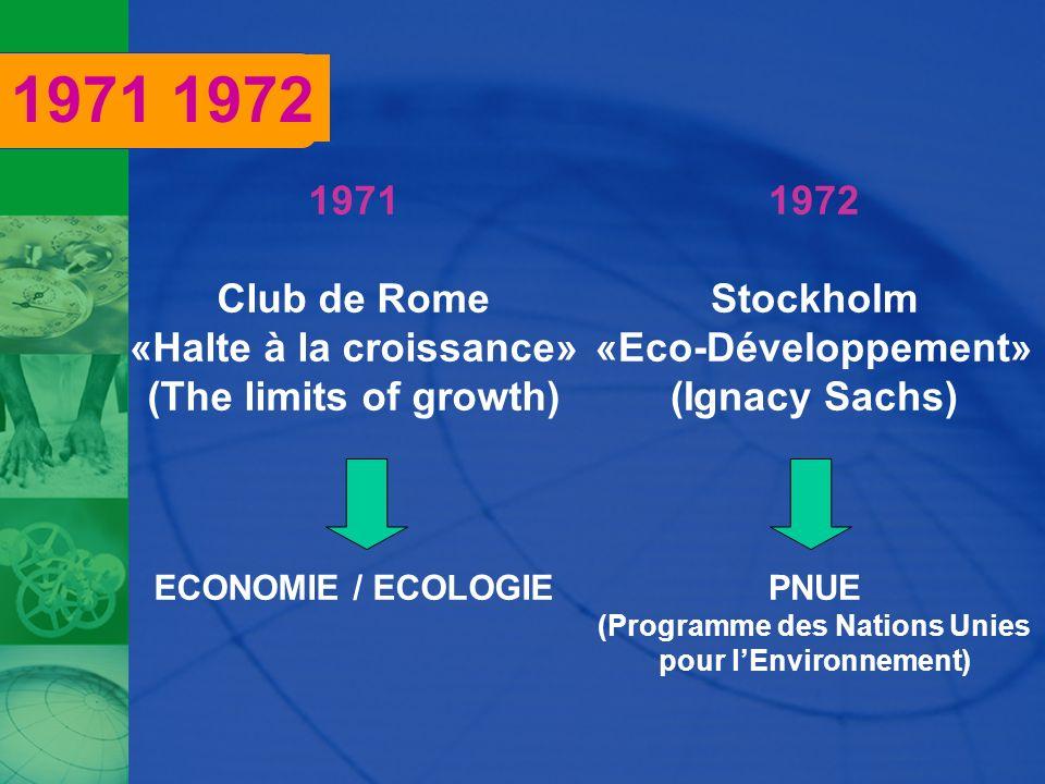 1971 1972 1971 Club de Rome «Halte à la croissance»