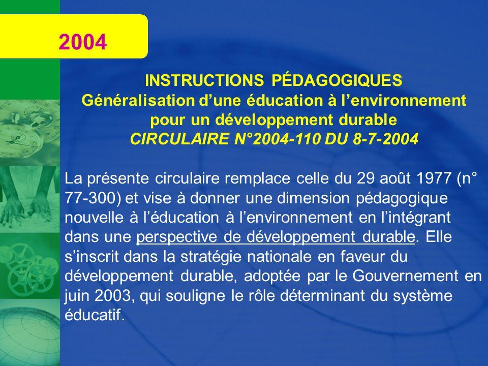 INSTRUCTIONS PÉDAGOGIQUES