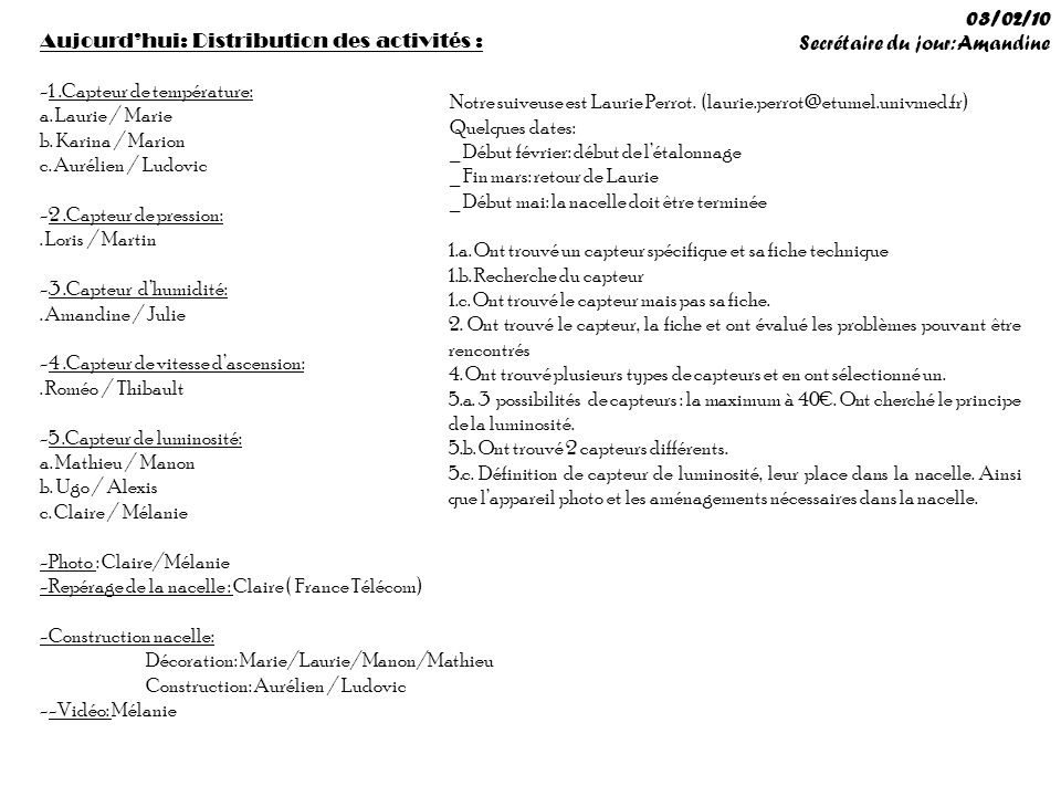 03/02/10 Secrétaire du jour: Amandine. Aujourd'hui: Distribution des activités : 1 .Capteur de température: