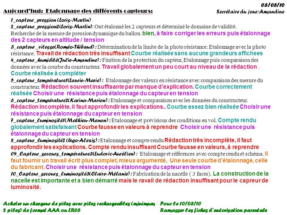 03/03/10 Secrétaire du jour: Amandine. Aujourd'hui: Etalonnage des différents capteurs: 1_capteur_pression (Loris-Martin)