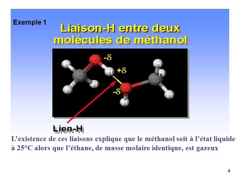 à 25°C alors que l'éthane, de masse molaire identique, est gazeux