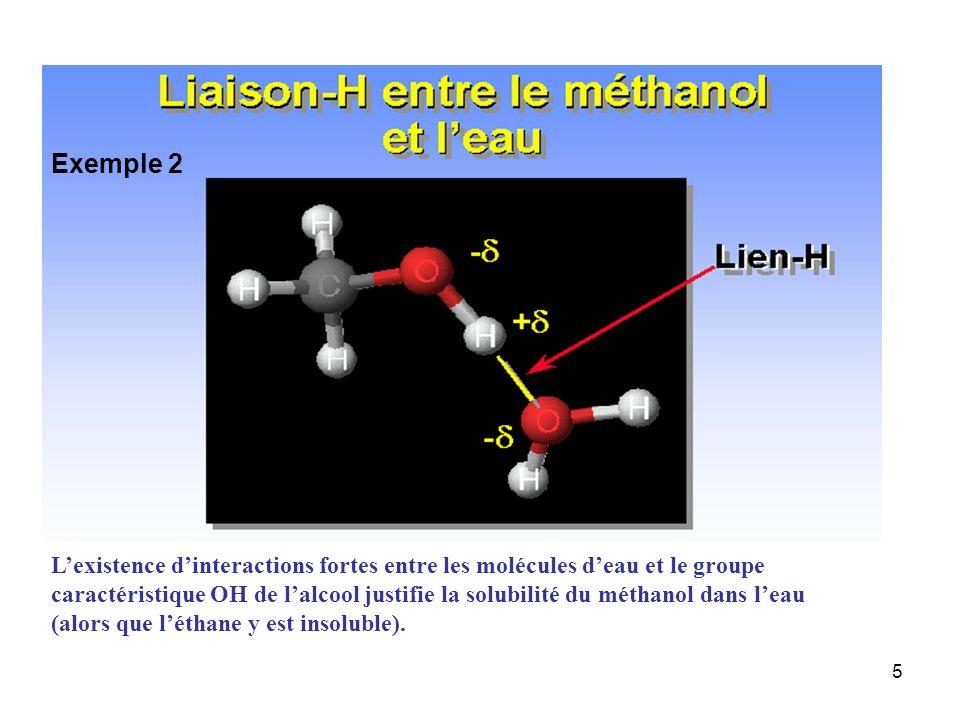 Exemple 2 L'existence d'interactions fortes entre les molécules d'eau et le groupe.