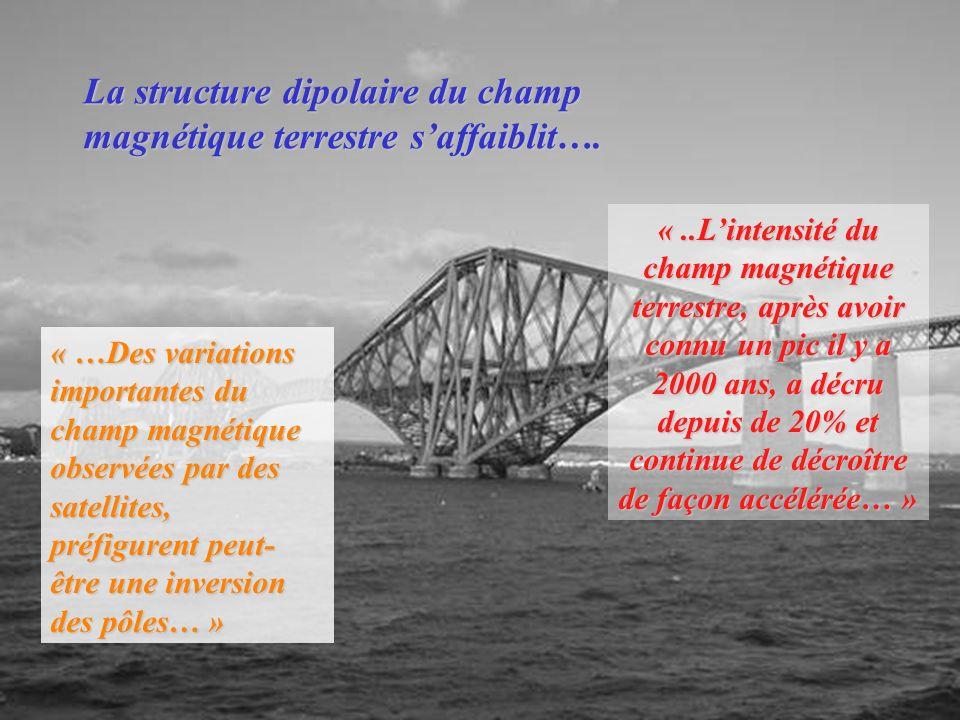 La structure dipolaire du champ magnétique terrestre s'affaiblit….