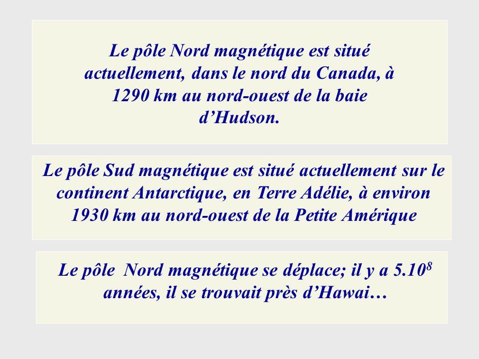 Le pôle Nord magnétique est situé actuellement, dans le nord du Canada, à 1290 km au nord-ouest de la baie d'Hudson.