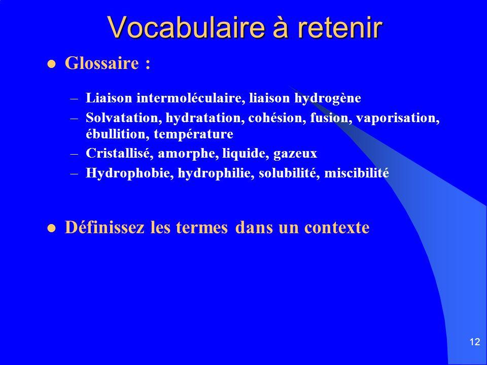 Vocabulaire à retenir Glossaire :
