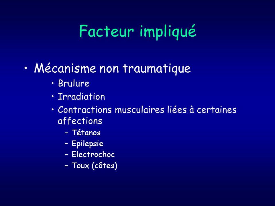 Facteur impliqué Mécanisme non traumatique Brulure Irradiation