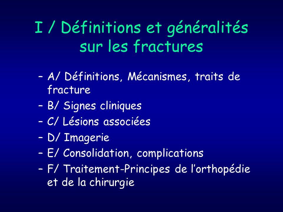 I / Définitions et généralités sur les fractures